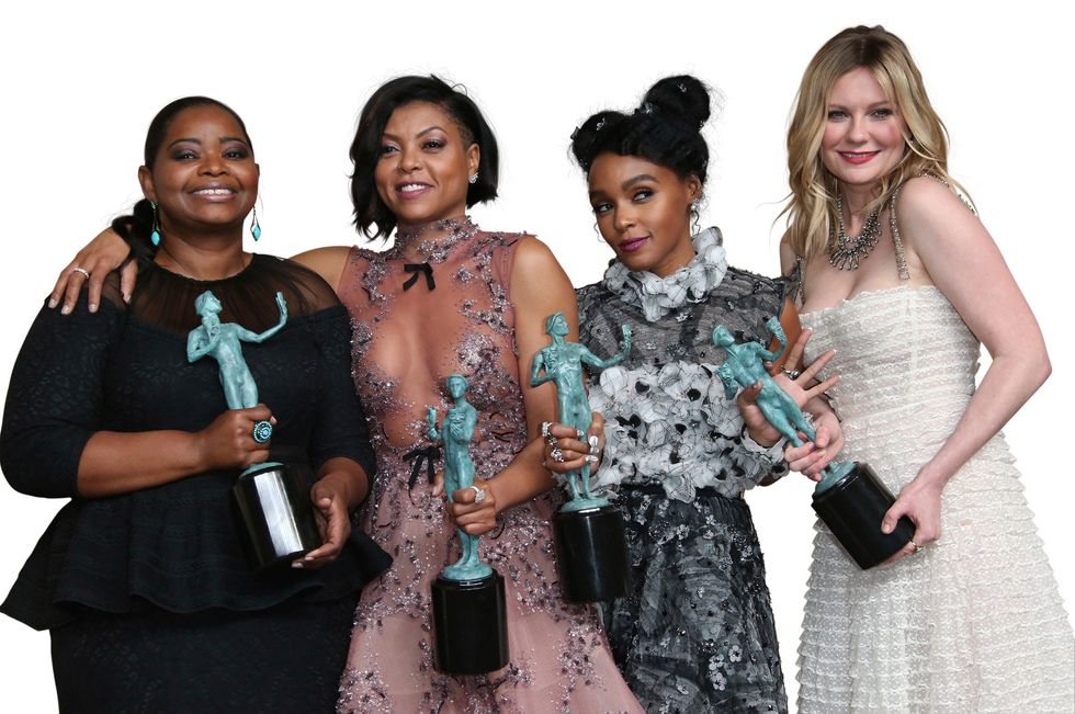 Kirsten Dunst and her fellow castmates after winning a Screen Actors Guild Award.