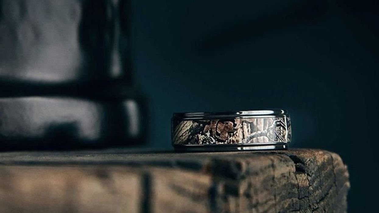 Dinosaur bone? Meteorite? These men's wedding bands are a real break from boredom.