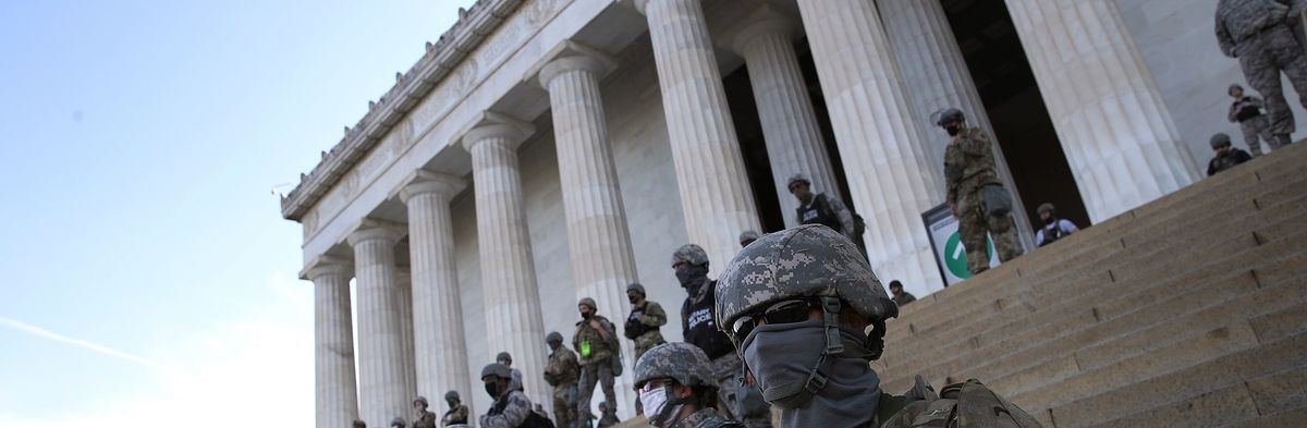 Troops guard Lincoln Memorial from further vandalism amid riots