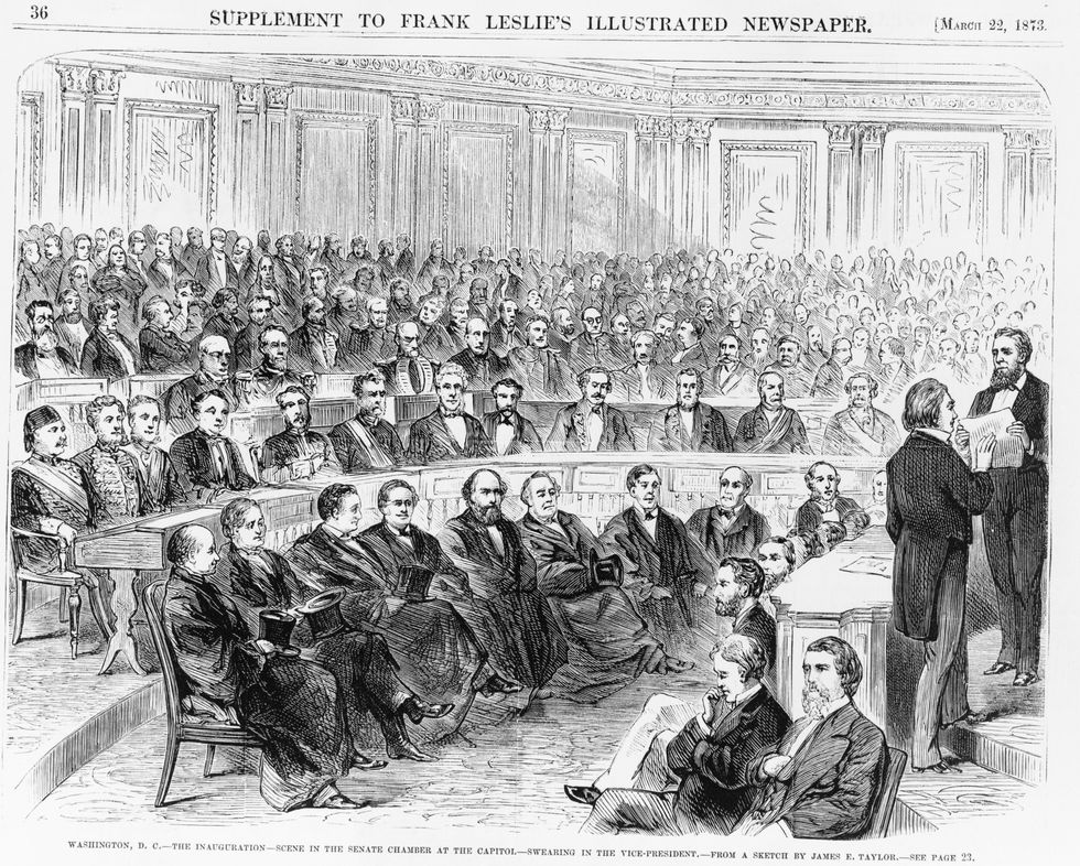 u200bThe inauguration in 1873 of Henry Wilson (second from right, raising his right hand), Ulysses Grant's second vice president.