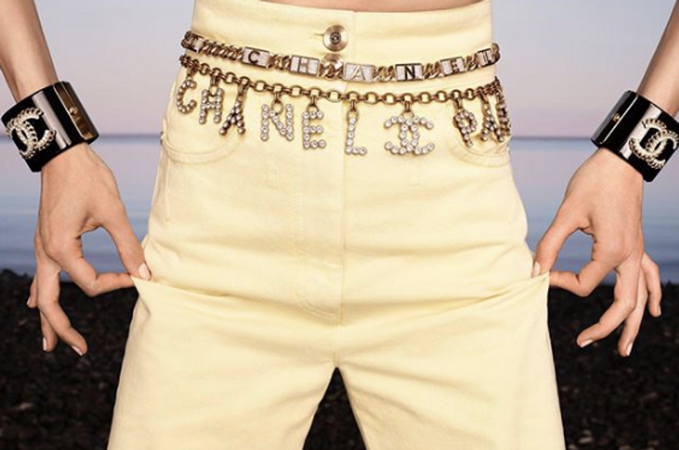 Chanel belt, pants, and accessories.
