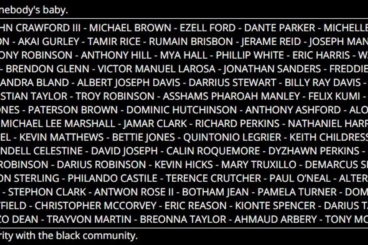 Babynames.com posted an incredibly powerful show of solidarity with the black community