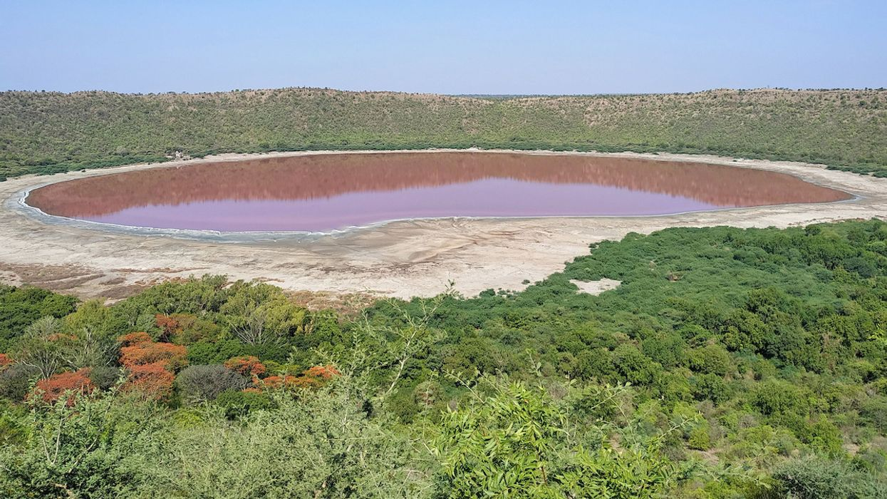 Mystery as Indian Crater Lake Turns From Green to Pink