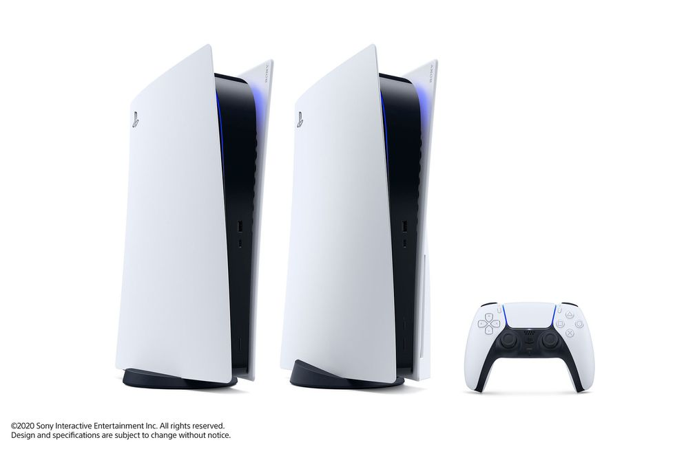 Two Playstation consoles with a controller