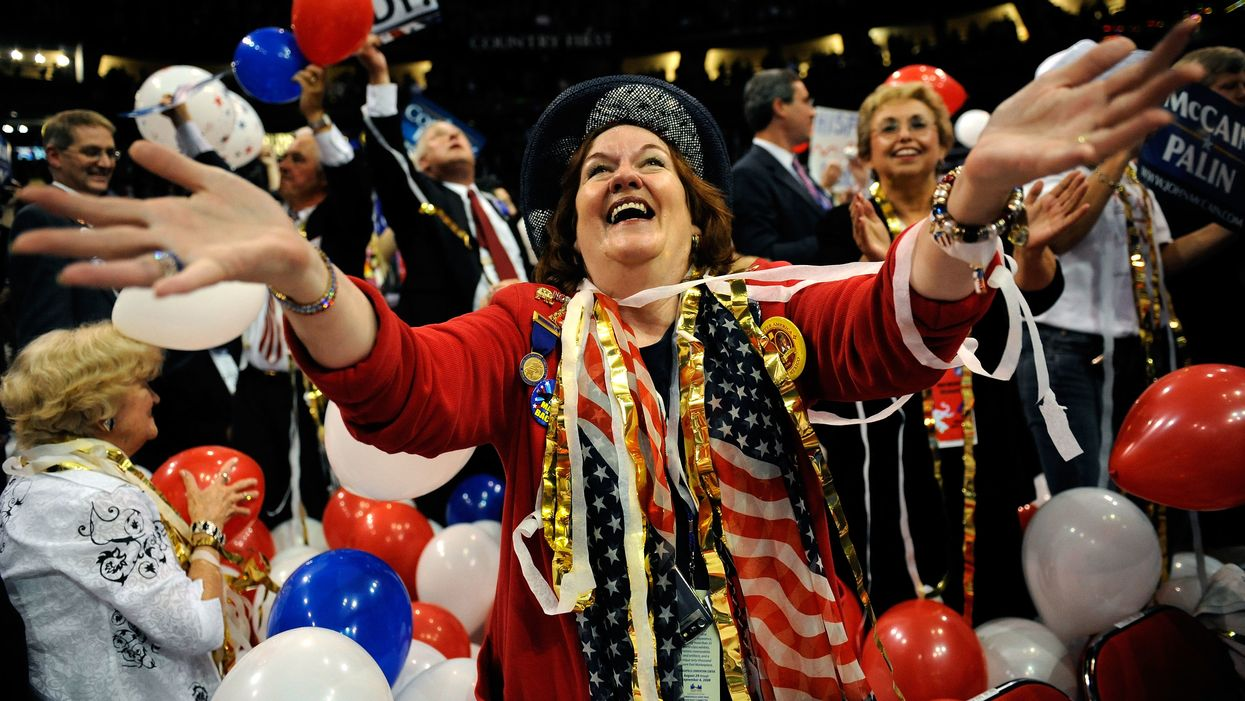 woman celebrating at Republican National Convention