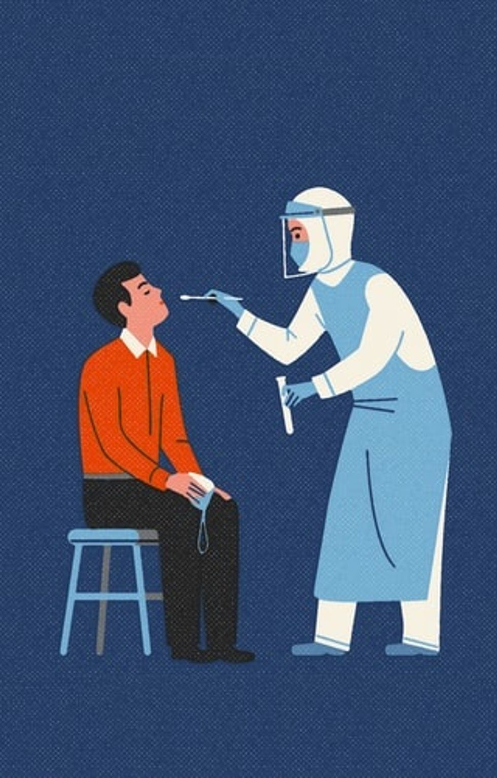 Artistic rendering of a healthcare worker performing a test for COVID-19.