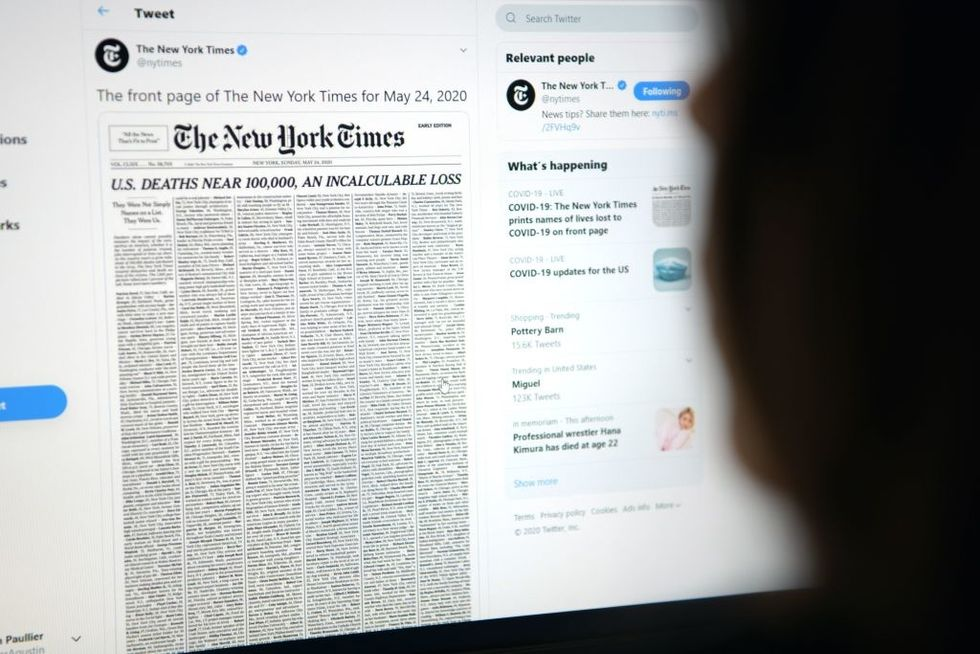 NY Times publishes list of COVID victims on front page, caught including suspected homicide victim
