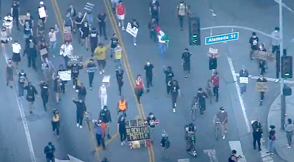 Los Angeles erupts in protest over George Floyd death; major highway shut down, police cars attacked