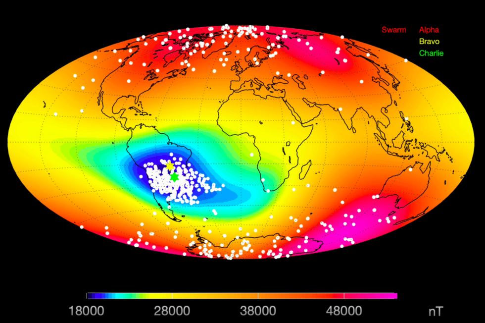 Mystery anomaly weakens Earth s magnetic field, report scientists
