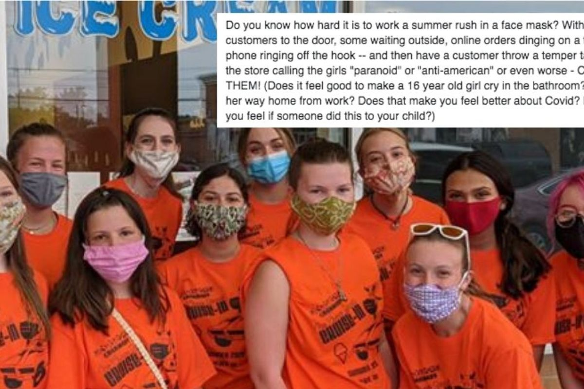 Ice cream shop owner shares passionate note defending teen workers harassed over mask policy