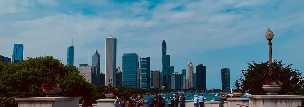 The Chicago skyline on a clear summer day.