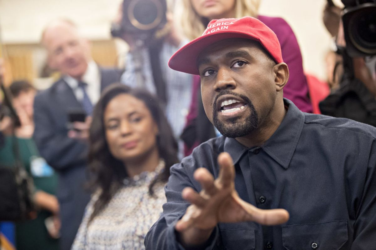 Kanye West throws away MAGA hat, slams Democratic Party, and explains his presidential campaign