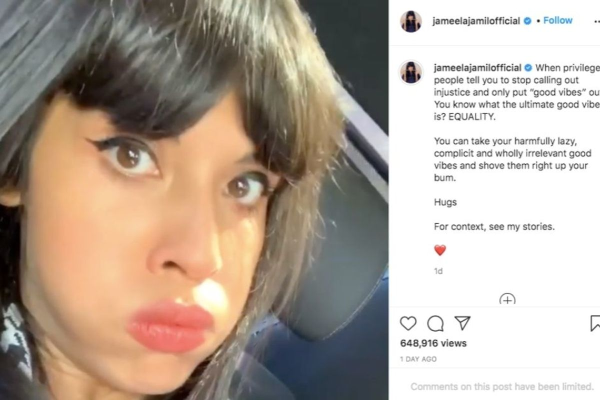 Jameela Jamil addresses people who want 'good vibes' instead of activism from her