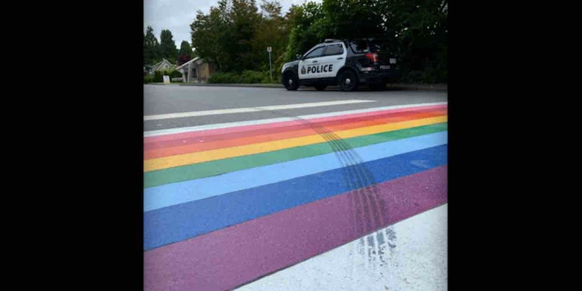 Cops say tire mark on rainbow pride crosswalk is 'gesture of hate' — and get mocked mercilessly after identifying driver they believe left it