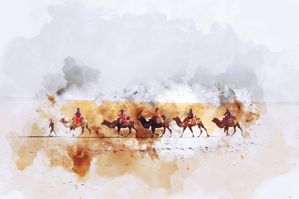 artist rendering of travelers on camels