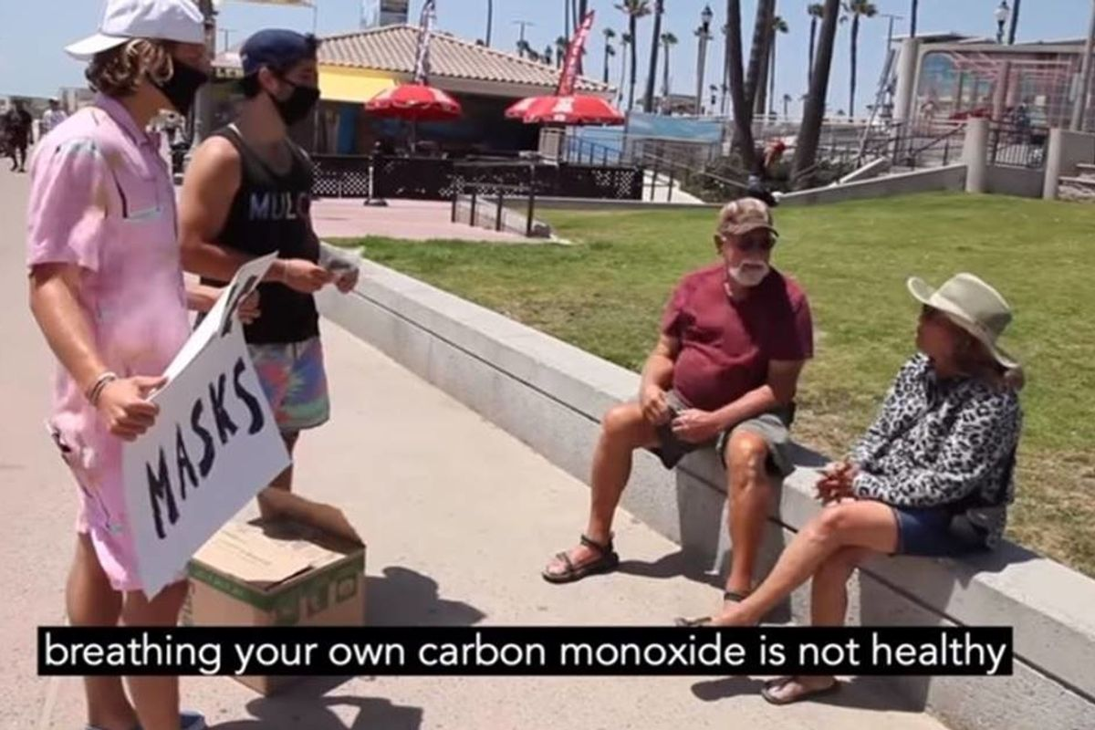 Extremely positive 'bros' tried to help out a California beach town by handing out free masks