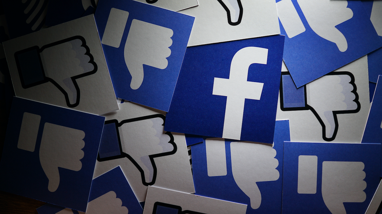 Facebook logo and thumbs down images