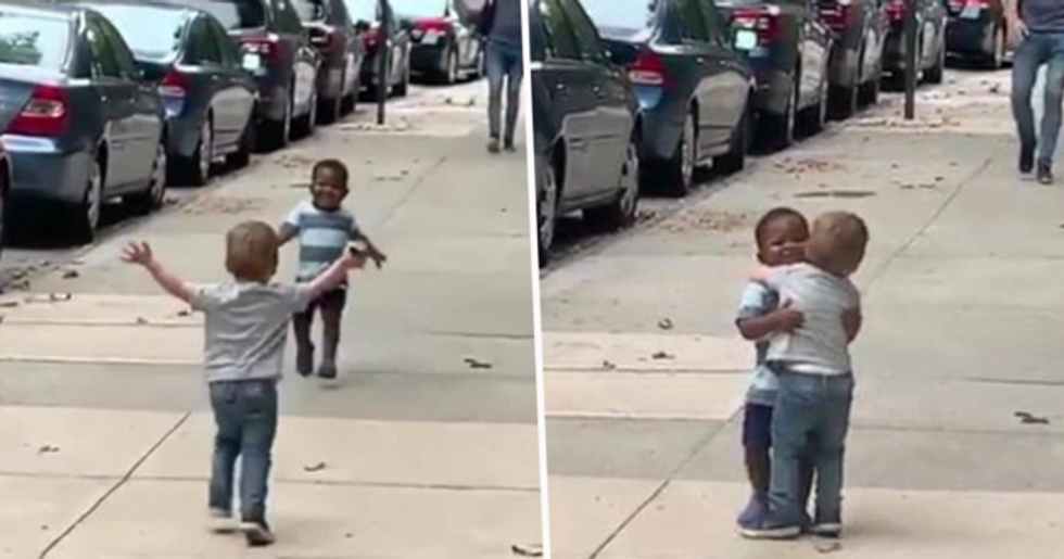 People Are Sharing Video of a Black Kid and a White Kid Hugging to Remind Us of How We Need to Be Right Now
