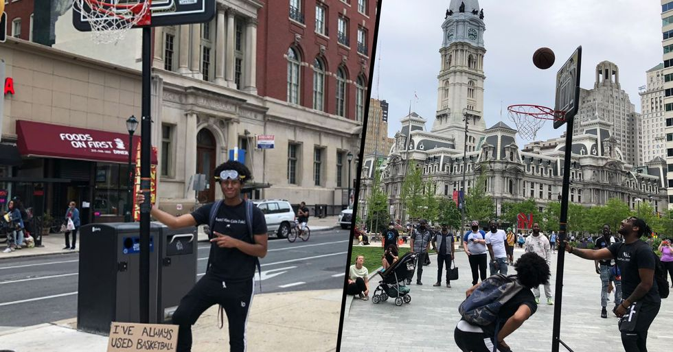 People Are Walking Around Philadelphia With a Basketball Hoop Asking Others to Play to 'Break the Tension'