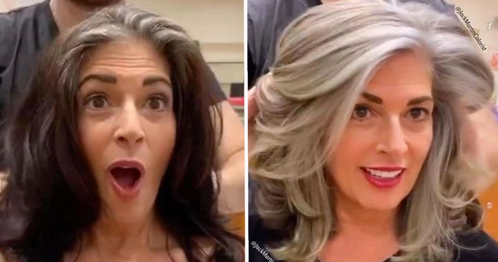 Rather Than Covering Grey Roots Hairdresser Makes Clients Embrace It With Powerful Transformation