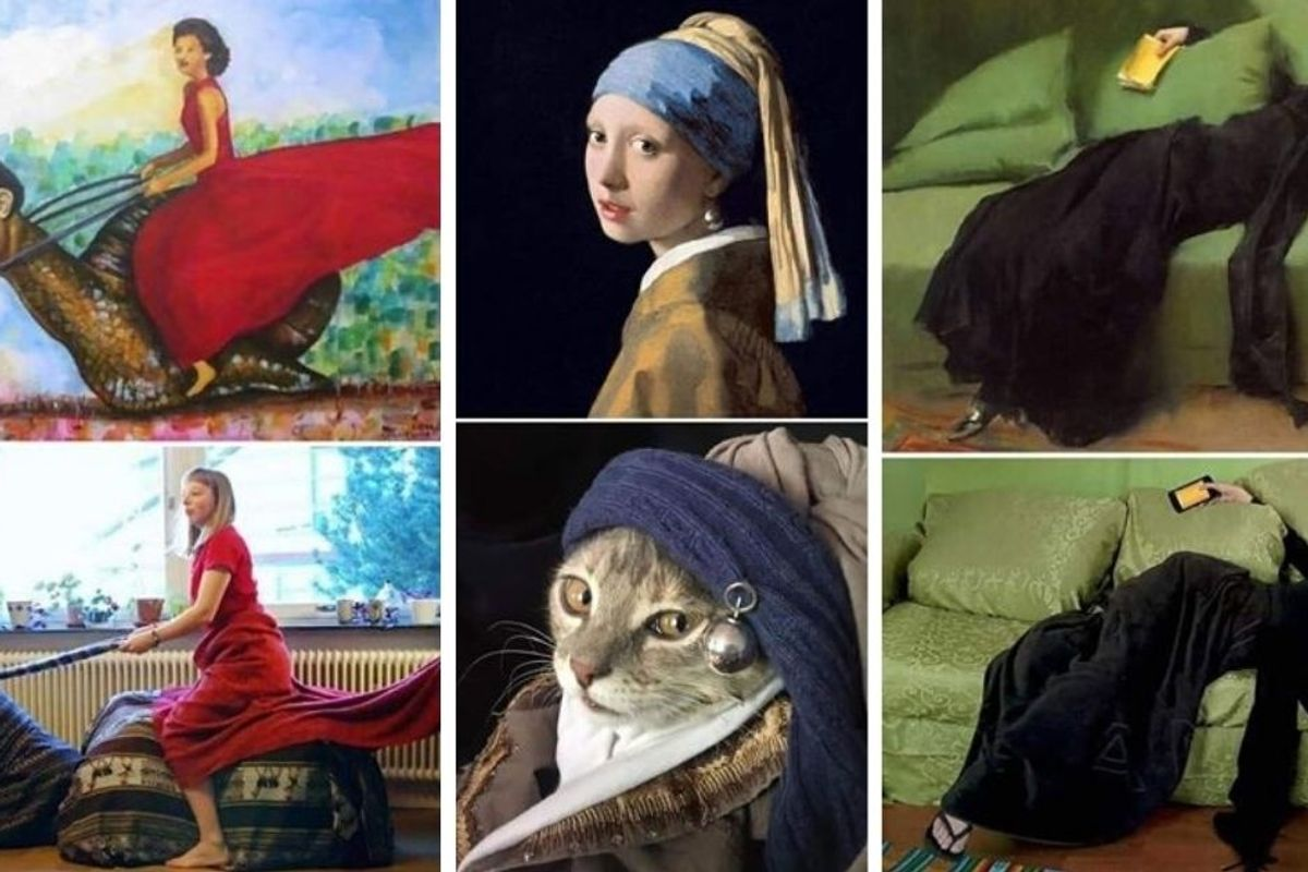 People are recreating famous works of art from home and some are seriously incredible