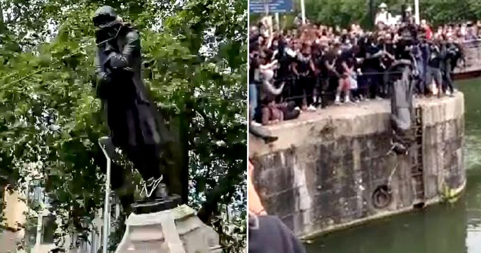 Black Lives Matter Protesters Throw Slave Trader Statue Into Harbor After Pulling It Down