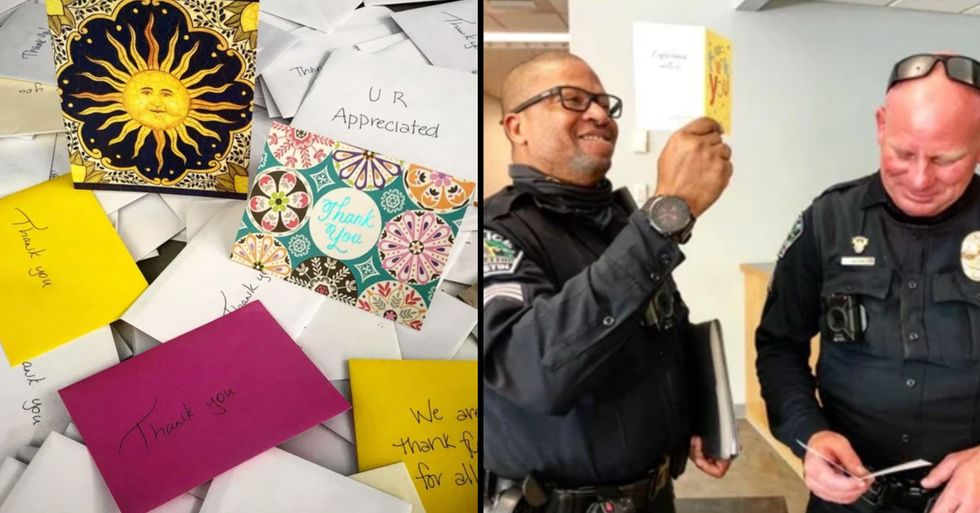 Police Ridiculed Over 'Fake' Thank You Cards After People Notice Suspicious Detail in Photos