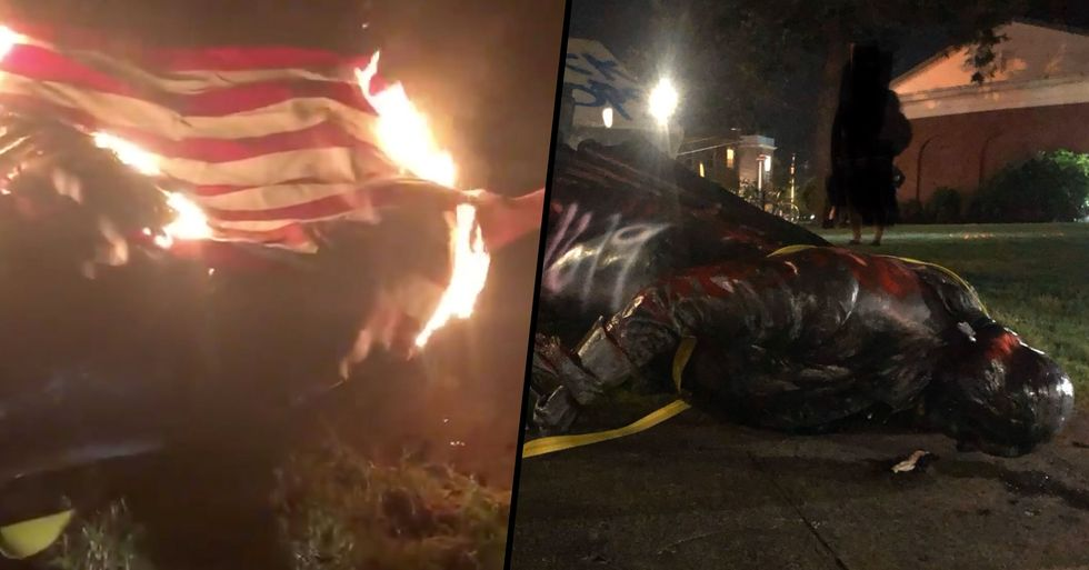 George Washington Statue Torn Down and Draped in Burning U.S Flag