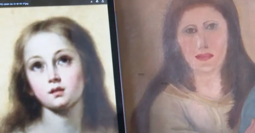 Priceless 17th Century Virgin Mary Painting Botched in Restoration Disaster