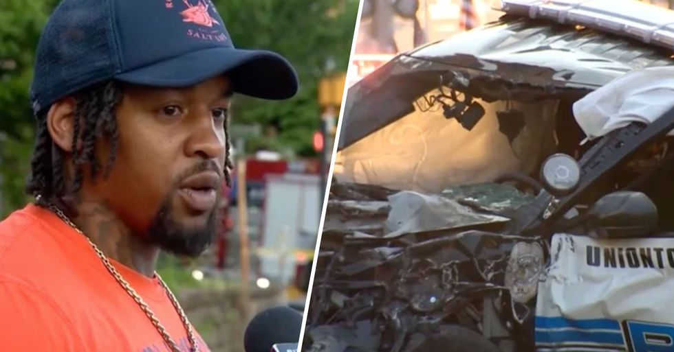 Black Man 'Rips Open' Car Door to Save White Officer From His Burning Vehicle