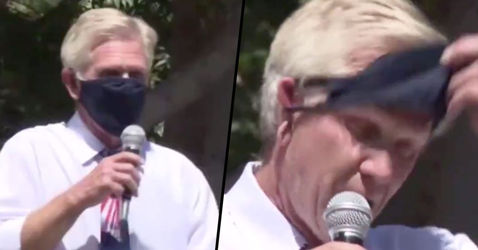 Arizona City Councilman Mockingly Shouts 'I Can't Breathe' Before Removing Mask at Anti-Mask Rally