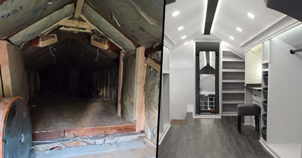 Husband Transforms Creepy Attic Into Wife's Dream Walk-In Closet