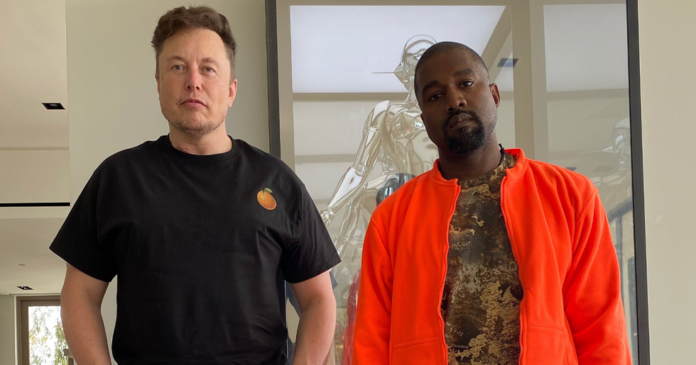 Kanye West Posted a Picture of Him and Elon Musk but People Couldn't Take Their Eyes off Grimes' Reflection