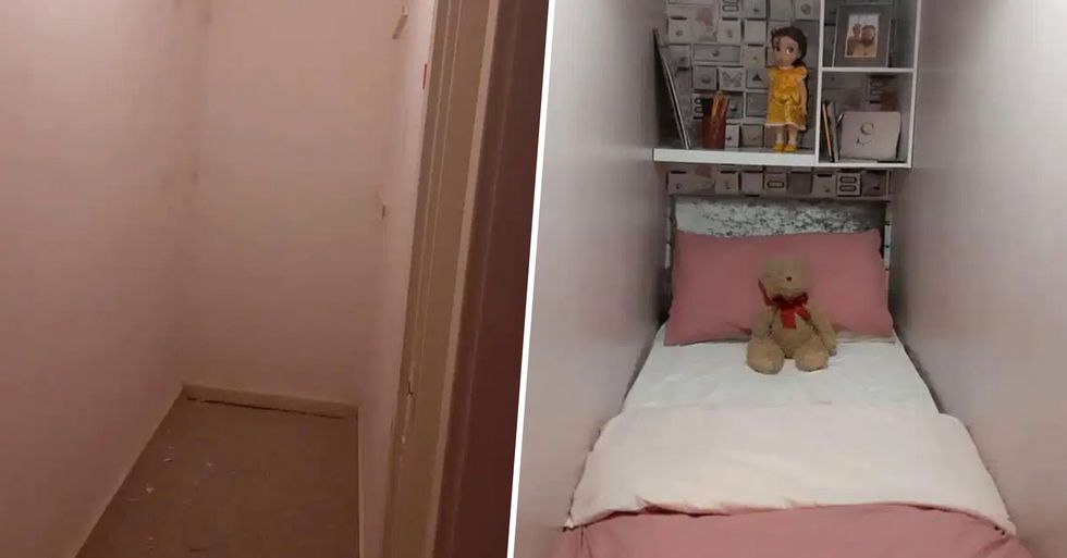 Mom Turns Small Cupboard in Her One-Bed Apartment Into a Sleeping Area for Her Stepdaughter