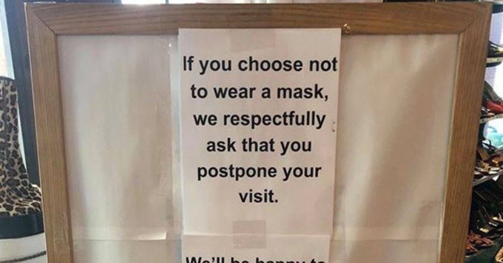 A Vintage Store Is Going Viral for Putting up a Sign About Face Masks That Gets Real Dark Real Fast
