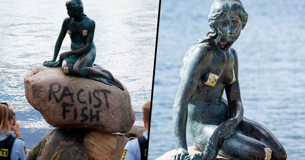 Famous Little Mermaid Statue in Denmark Vandalized With Graffiti Saying 'Racist Fish'