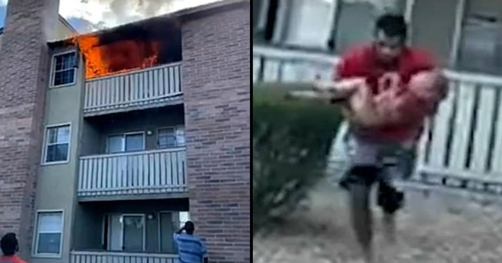Marine Who Played Wide Receiver in College Catches Boy Thrown From Burning Building