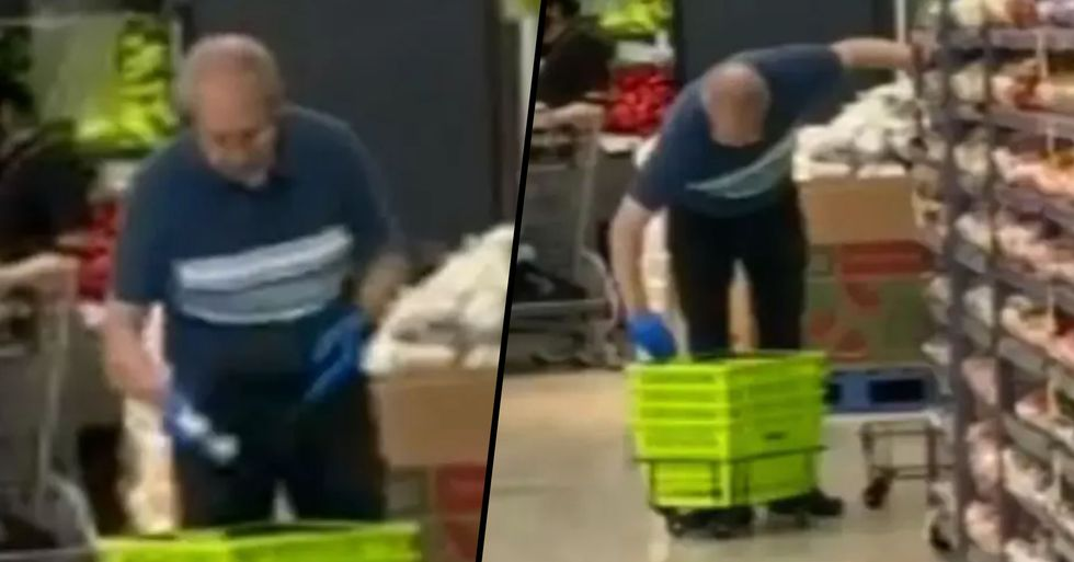 Grocery Store Worker Caught Using Spit to Clean Baskets