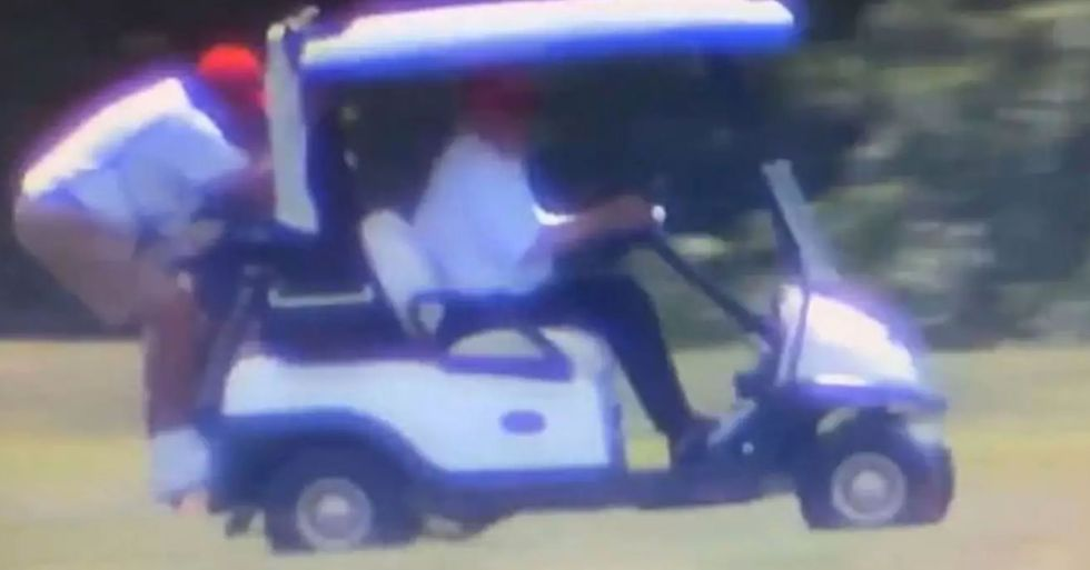 Donald Trump Makes Golf Caddie Stand on Back of Cart and Hang on for His Life