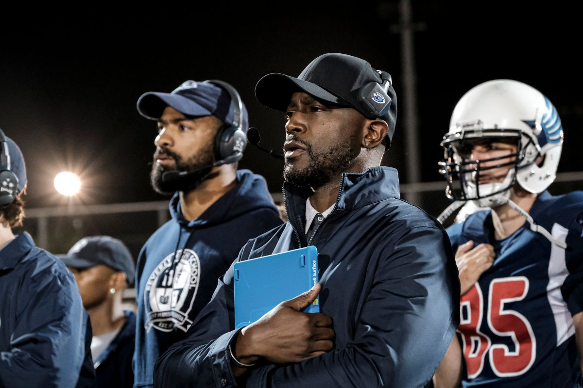 Former NFL player Spencer Paysinger and Taye Diggs as Coach Billy Baker on TV show from The CW All American