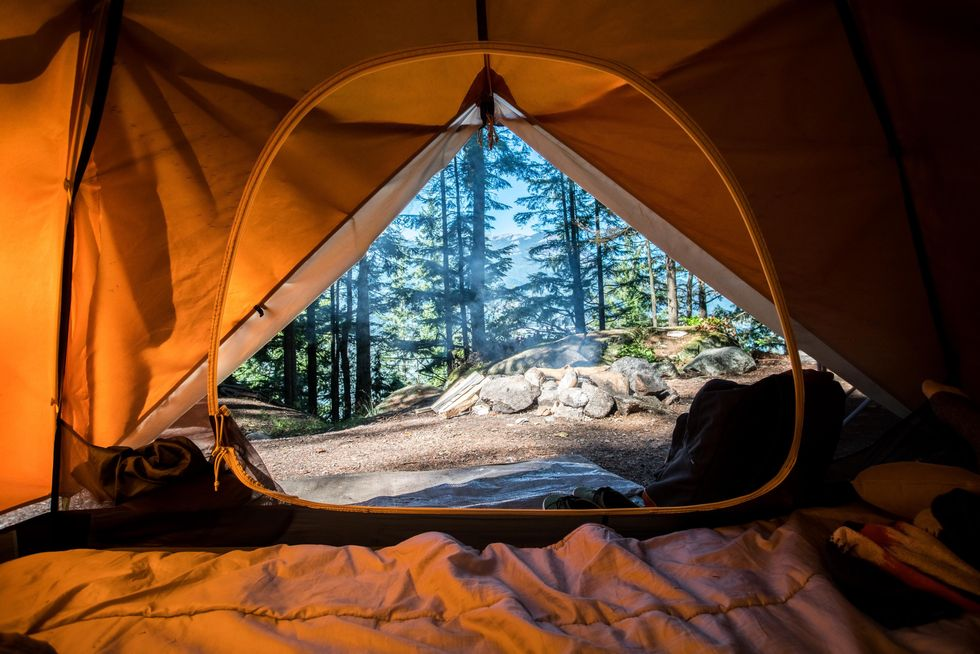 Unzipped tent.