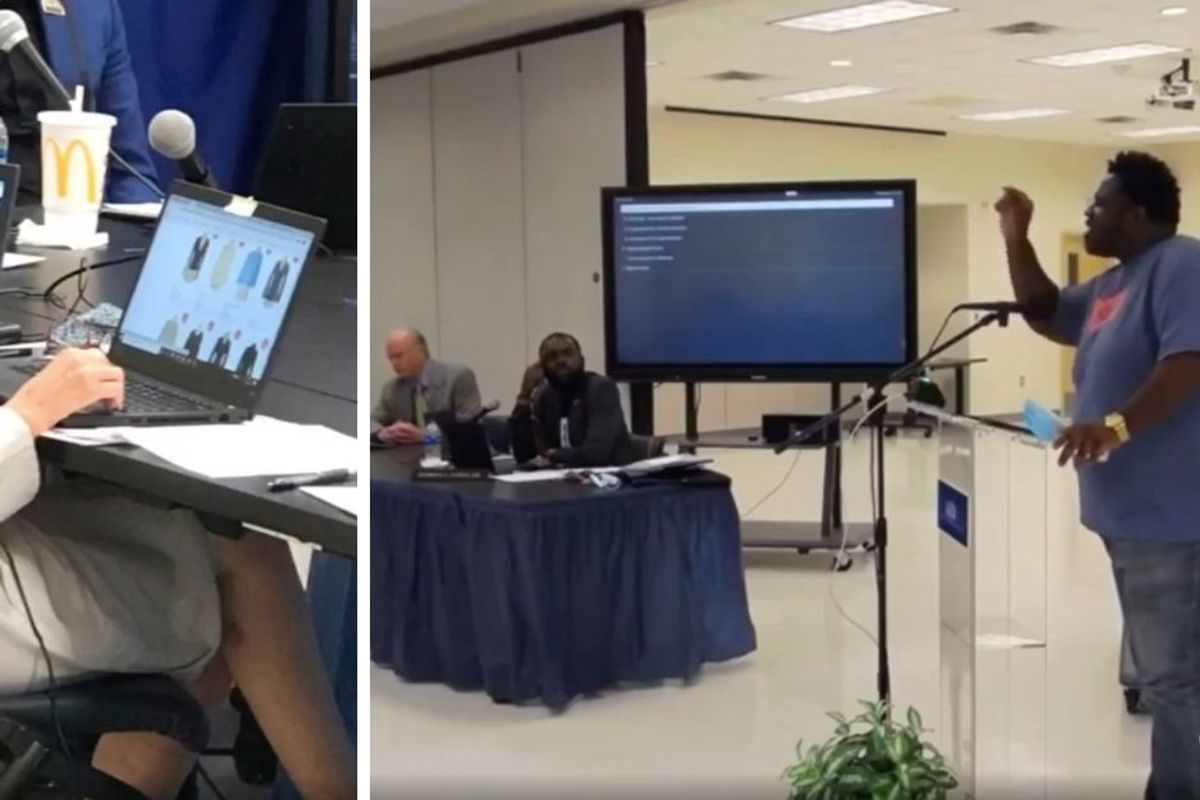 Man calls out school board member after she's caught shopping during hearing on racism