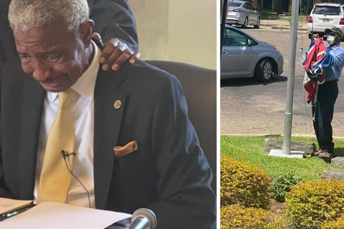 Mississippi town mayor fights back tears as he signs order to remove confederate flags