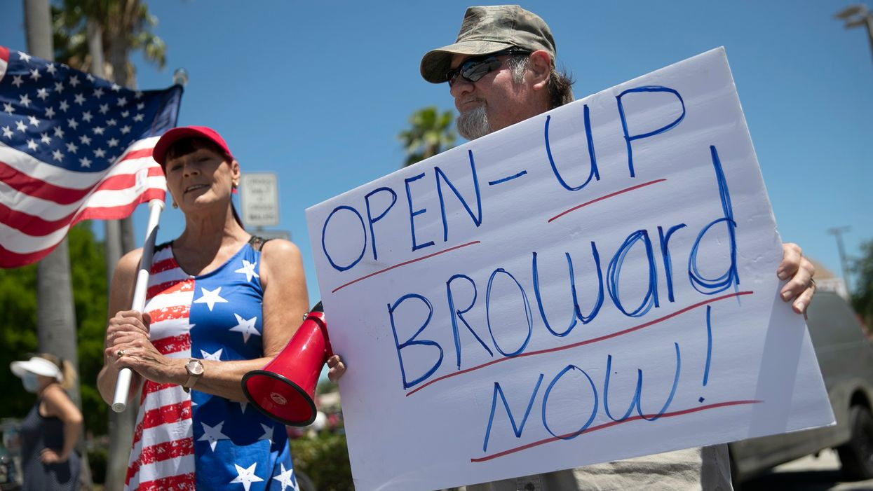 Americans protesting the COVID-19 lockdown in Florida.