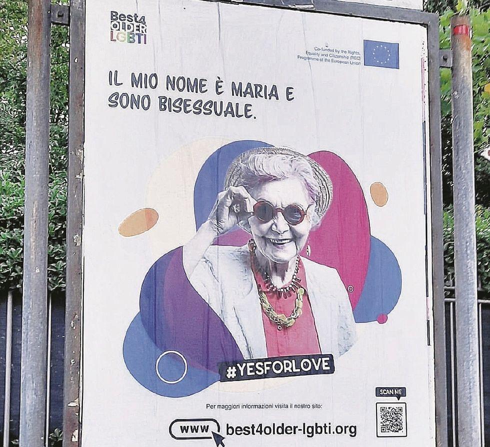 Il poster della nonna lgbt pagato dall'Europa