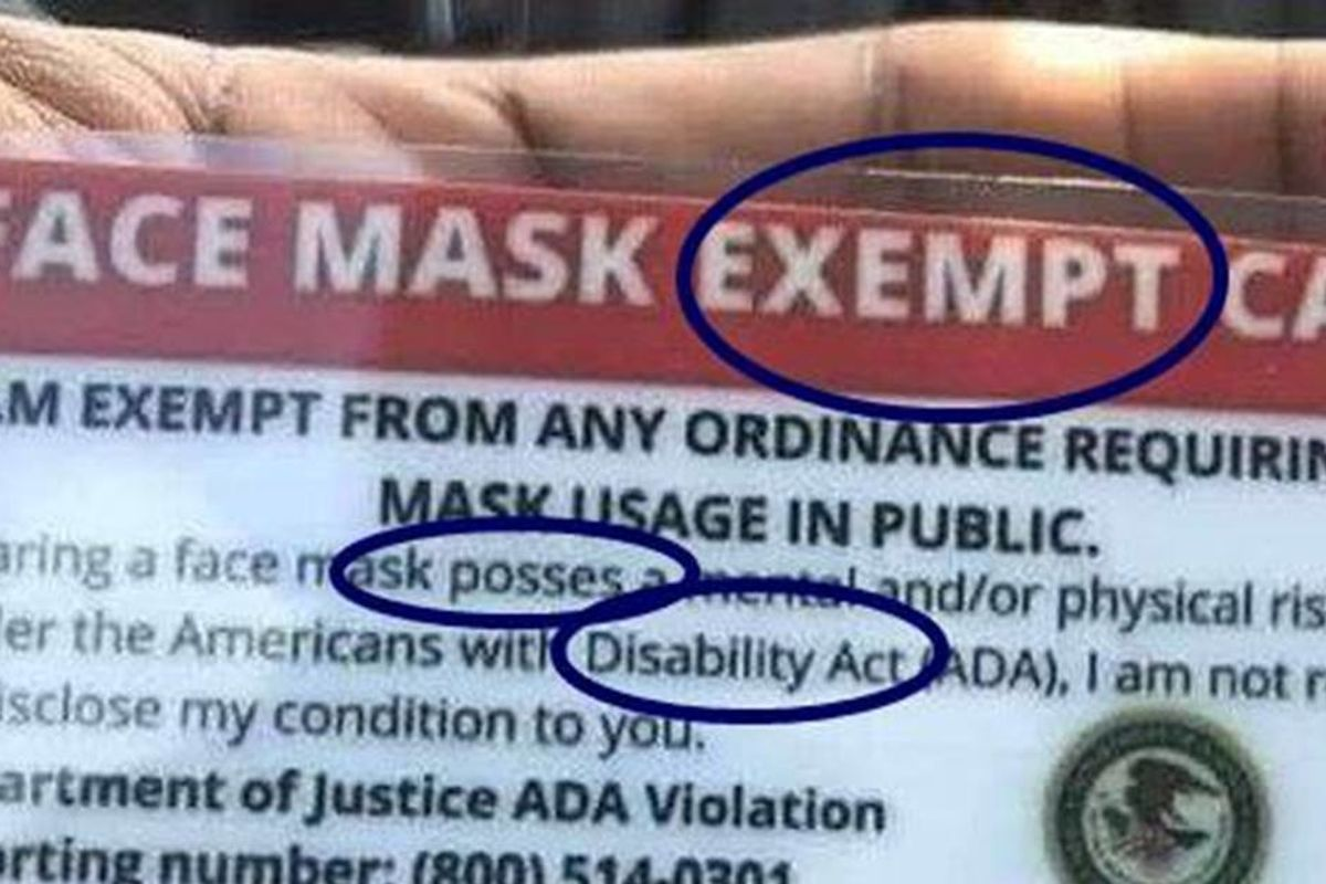 A group of Anti-Maskers is trying to pass off a bogus 'mask-exemption' card