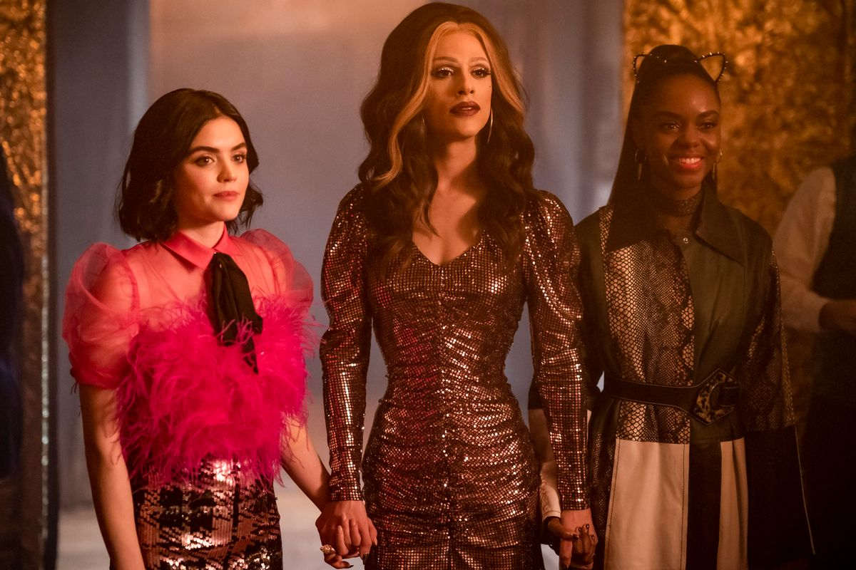 Lucy Hale as Katy Keene Jonny Beauchamp as Ginger and Ashleigh Murray as Josie McCoy from Katy Keene