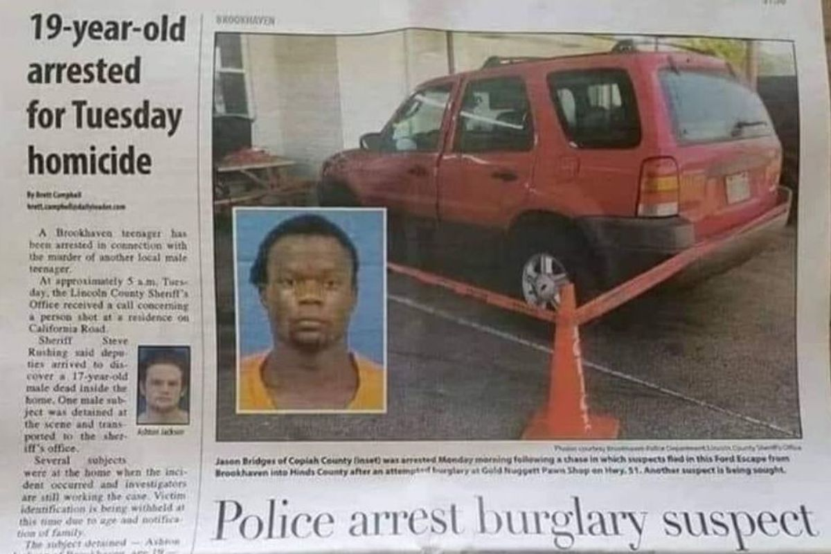 Look at how differently a Mississippi newspaper covered stories about Black and White suspects