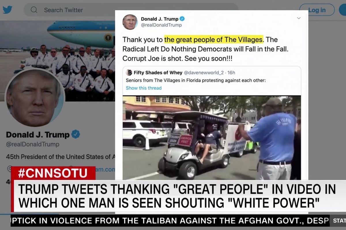 """Trump shares video of supporter shouting """"white power"""""""