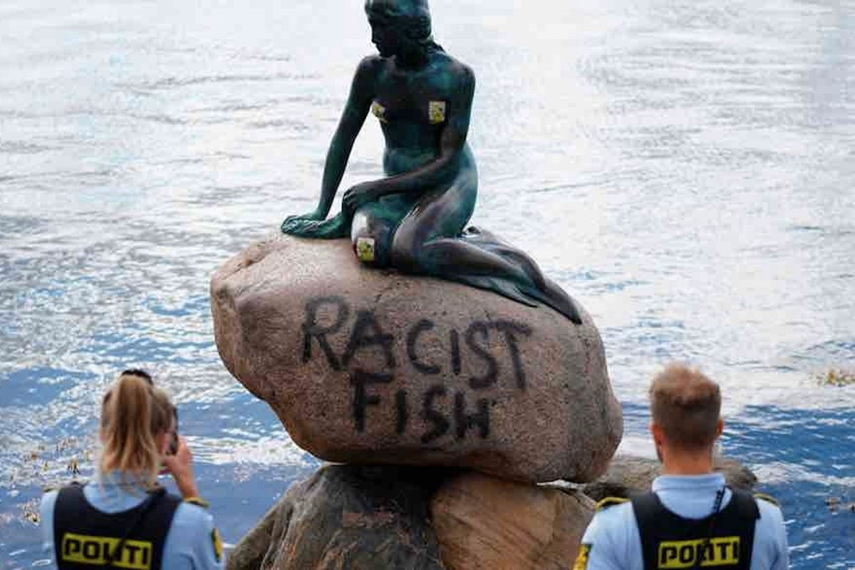 'Racist fish': Famous statue of the Little Mermaid in Copenhagen harbor has been vandalized